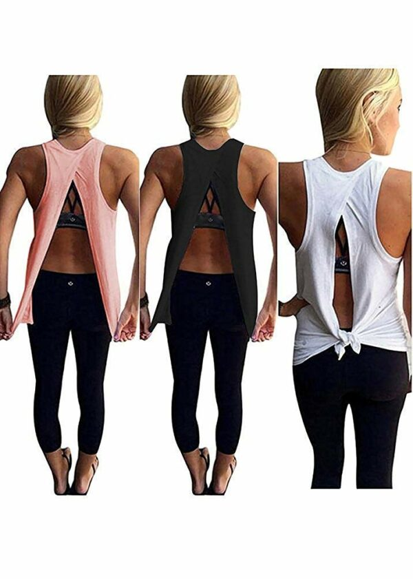 Sexy Open Back Yoga Workout Tops by Mazonyi